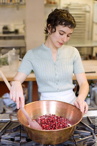 Rachel hard at work making jam.