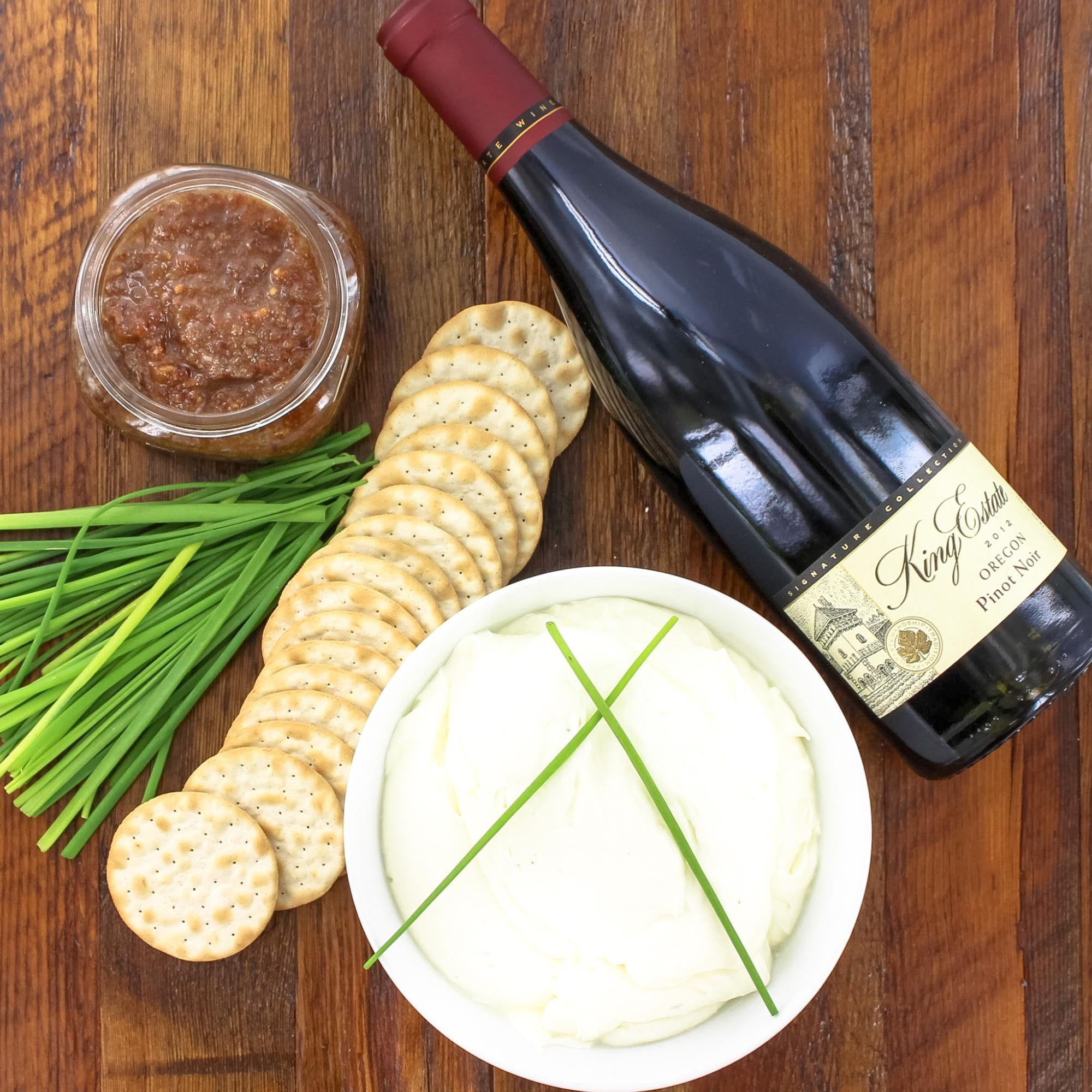 Bacon Jam, Chives, Goat Cheese, Table Crackers With Pinot Noir