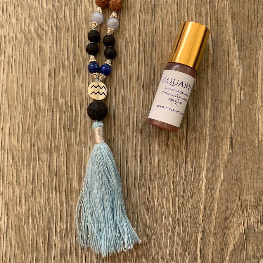 Aquarius Cosmic Diffuser Mala + Essential Oil (Dana Damara) - Bali Malas