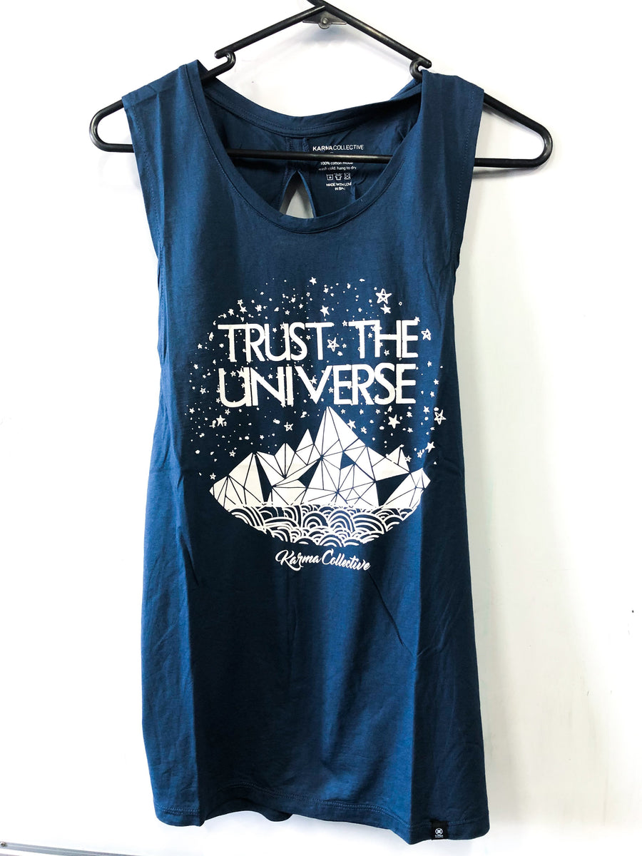 Trust the Universe Blue Twist Back Tank Top