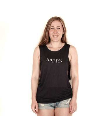 Happy Tank Top Black or White