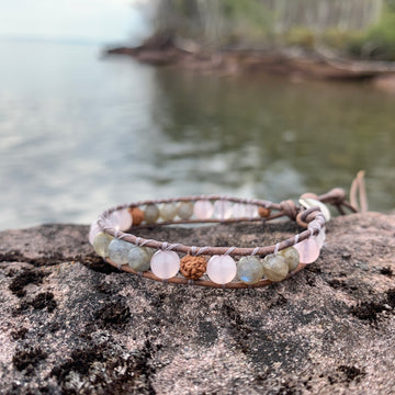 Soul Mate Wrap Bracelet (Rose Quartz and Labradorite)