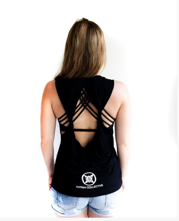 LOVE Open Back Black Tank Top by Karma Collective
