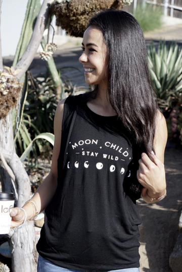 Moon Child, Stay Wild Black Tank Top by Karma Collective