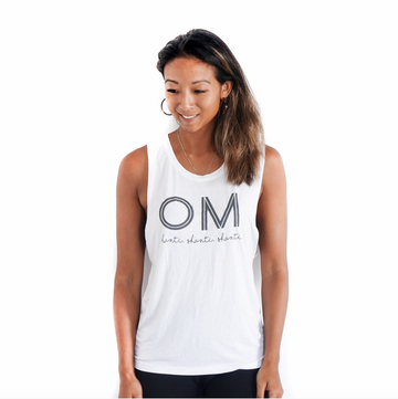OM Shanti Muscle Tank Top by Karma Collective