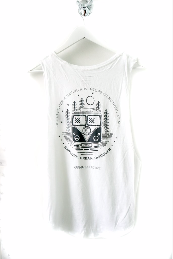 Explore, Dream, Discover Muscle Tank in white or black