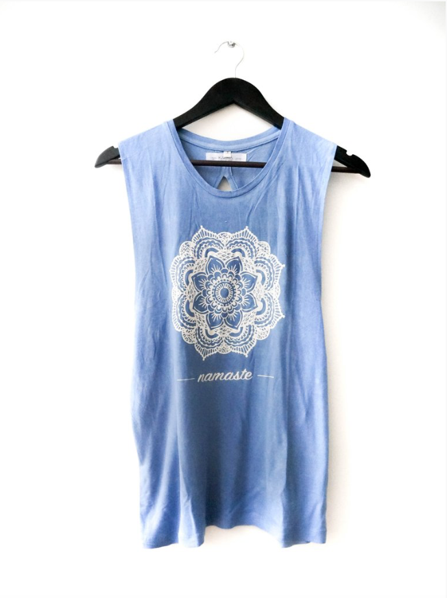 Mandala Twist Back Muscle Tank Top