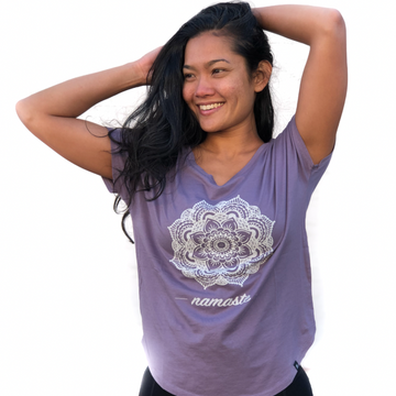 Mandala Flower Vback Tshirt Purple