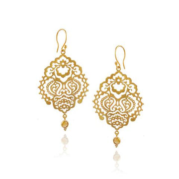 Breath of Life Earrings*citrine* gold vermeil*  by Ananda Soul - Bali Malas