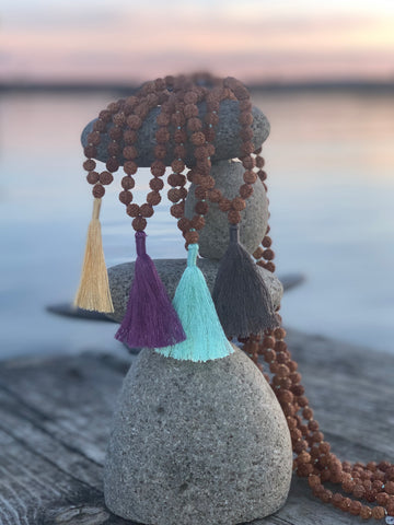 Practice Mala with sea foam green tassel