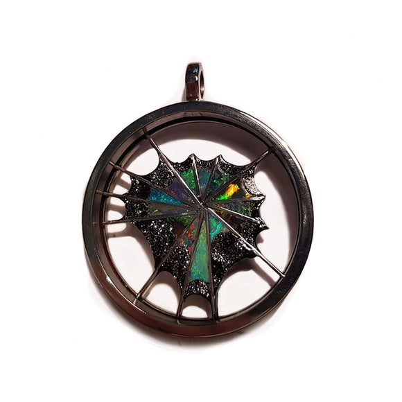Large Inlaid Web Pendant - Aurora Opal and Gem