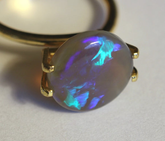 4.15ct Round Lightning Ridge Black Opal - Aurora Opal and Gem