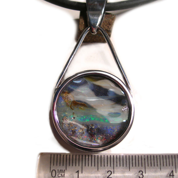2.75cm Stainless steel boulder opal pendant - Aurora Opal and Gem