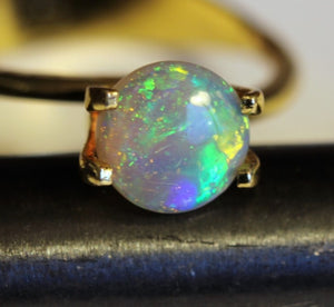 0.96ct Round Lightning Ridge Crystal Opal - Aurora Opal and Gem
