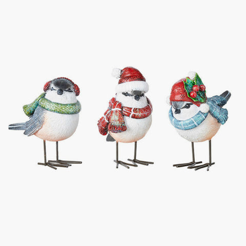 Chickadee Holiday Birds with Scarves- Set of Three