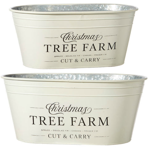 Christmas Tree Farm Buckets - Set of Two