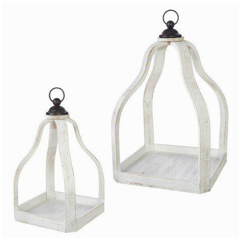 Rustic White Wood and Metal Lantern - Set of Two