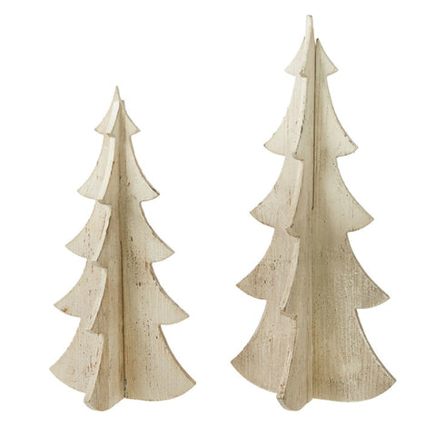 Distressed Wooden Holiday Tree - Set of Two