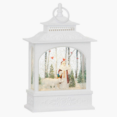 Woodland Santa and Polar Bear Lighted Water Lantern