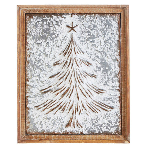 Metal Christmas Tree Framed Wall Art
