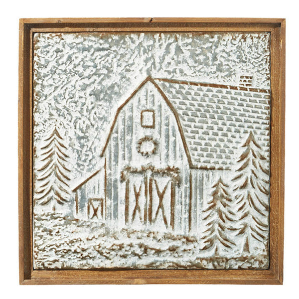 Metal Christmas Barn Framed Wall Art