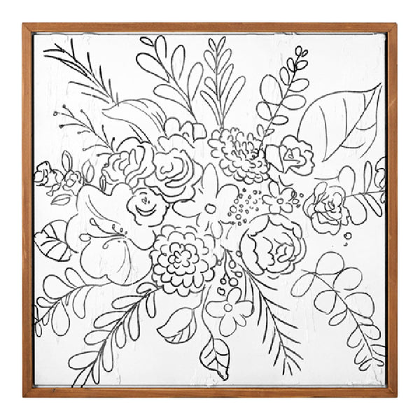 Wildflower Textured Line Wall Art