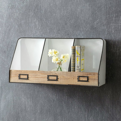Metal & Wood Wall Shelf with Cubbies