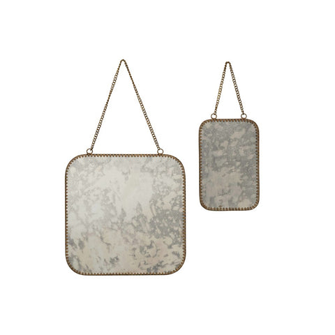 Antiqued Hanging Mirrors - Set of Two