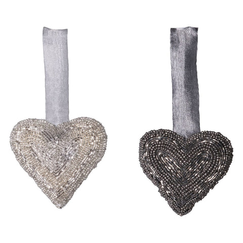 Beaded Fabric Heart Ornament - Set of Two