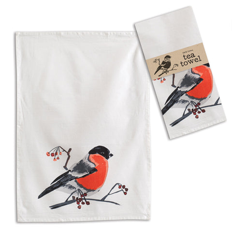 Birds with Berries Tea Towel