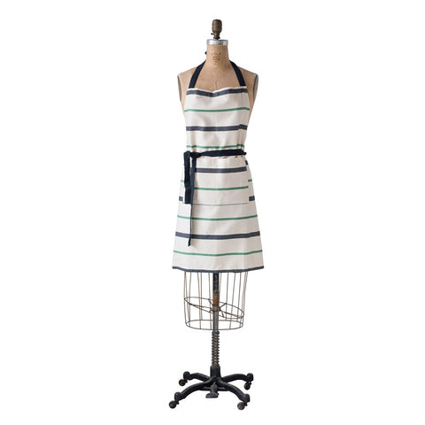 Black, White and Green Striped Apron