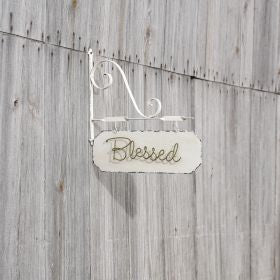 Blessed Metal Sign with Bracket