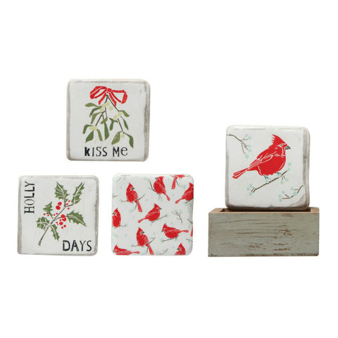 Holiday Cardinal Coasters - Set of Four