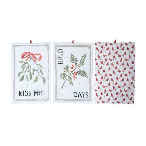 """Cardinal"" Holiday Tea Towels - Set of Three"
