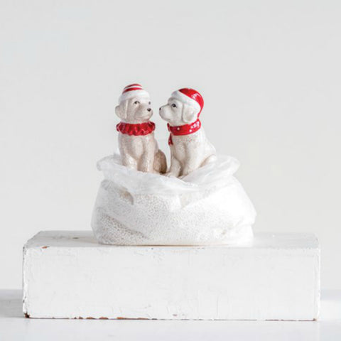 Ceramic Dog Holiday Salt and Pepper Shaker Set