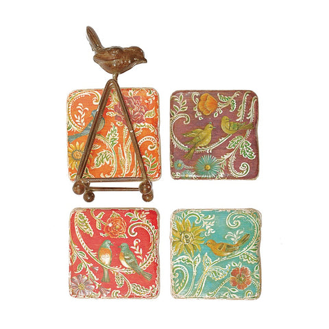 Colorful Bird Coasters - Set of Four