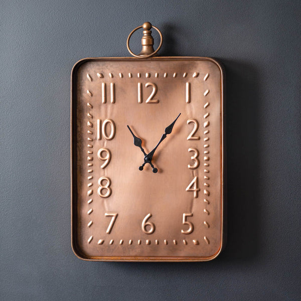 Wall Clock with Copper Finish