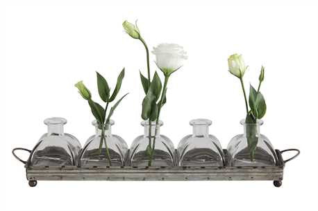Iron Tray with Glass Vases