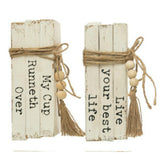 Faux Book Stacks with Sayings- Set of Two