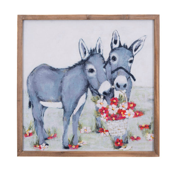 Donkey or Mule Art Work with flowers