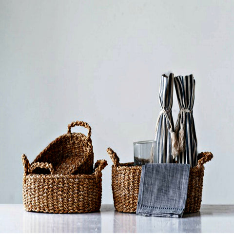 Natural Woven Seagrass Basket - Set of Three