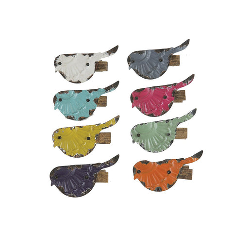 Embossed Metal Bird Clips - Set of Eight