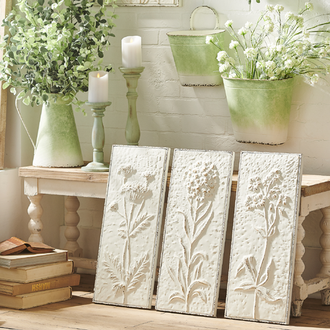 Embossed Metal Wildflower Wall Art - Set of Three