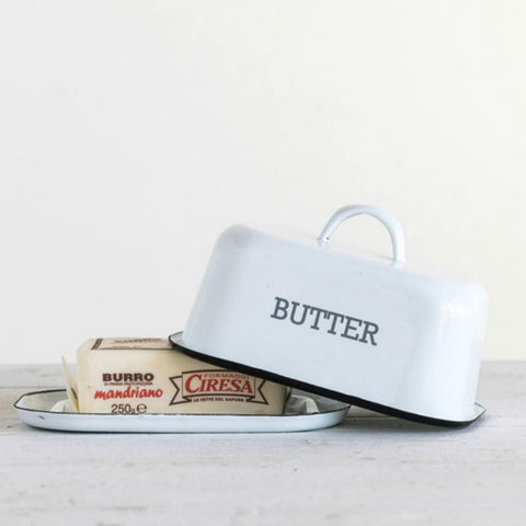 Enameled Metal Butter Dish