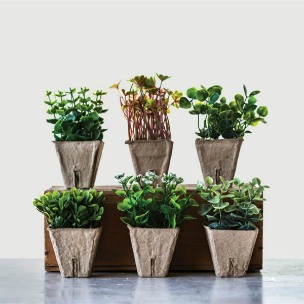 Faux Plants in Paper Pots-Set of Six