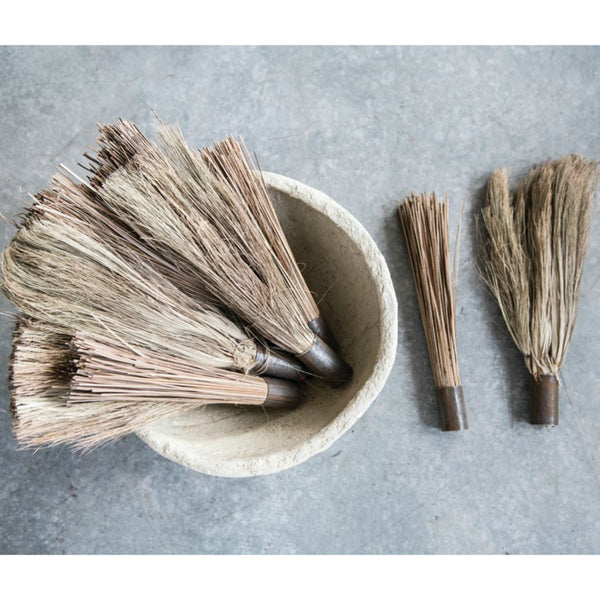 Found Wood and Metal Hand Held Broom - Set of Three