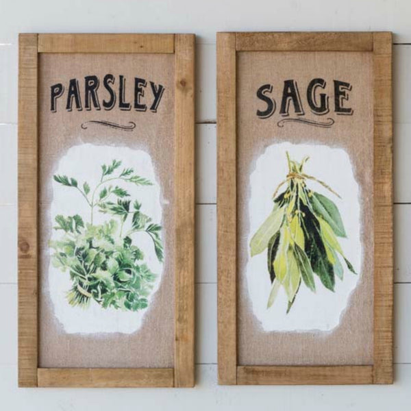 Framed Herb Print on Burlap- Set of Two
