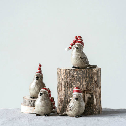 Holiday Birds with Stocking Hats- Set of Four