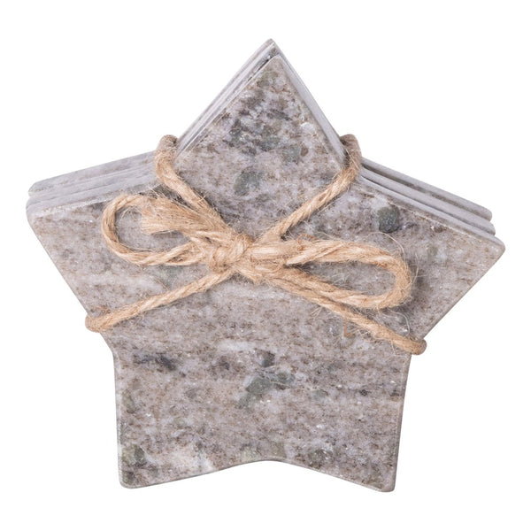 Black Marble Star Shaped Coasters - Set of Four