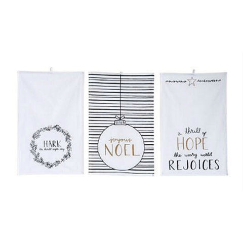 Tea Towels with Holiday Sayings - Set of Three